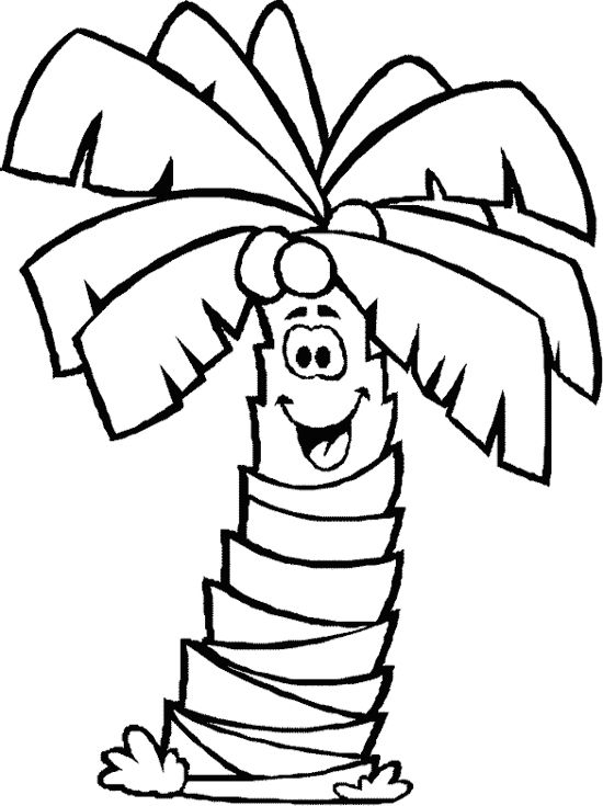 Smile Palm Tree Coloring Page Tree Coloring Page Leaf Coloring