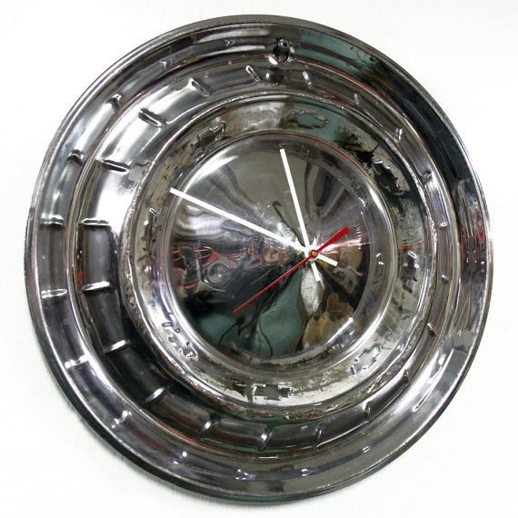 Hey, I found this really awesome Etsy listing at https://www.etsy.com/listing/217993414/1955-chevy-bel-air-hubcap-clock-55