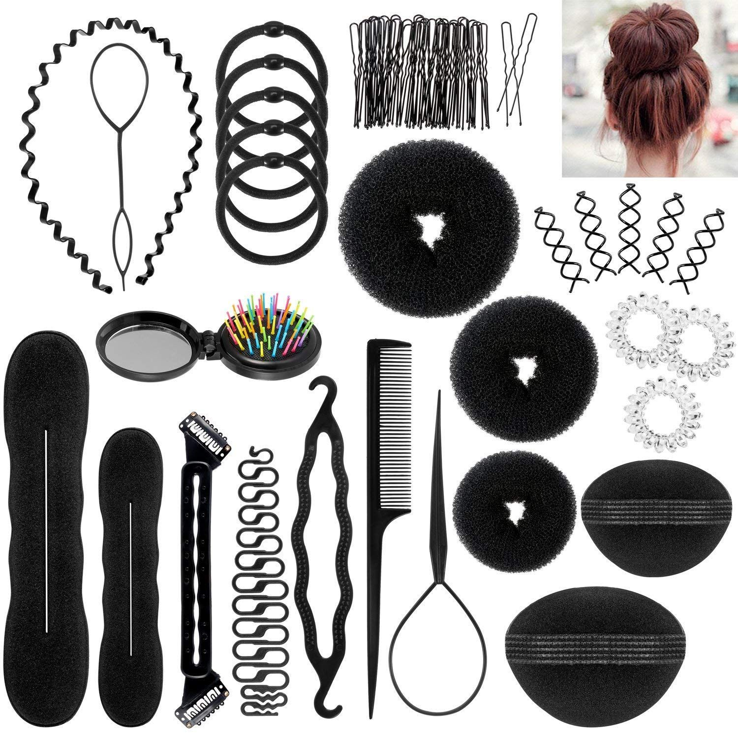 Hair Styling Accessories Set 28 Pcs Fashion Hair Design Styling Tools Kit Spiral Diy Hair Accesso Hair Accessories Pins Diy Hair Accessories Hair Braiding Tool