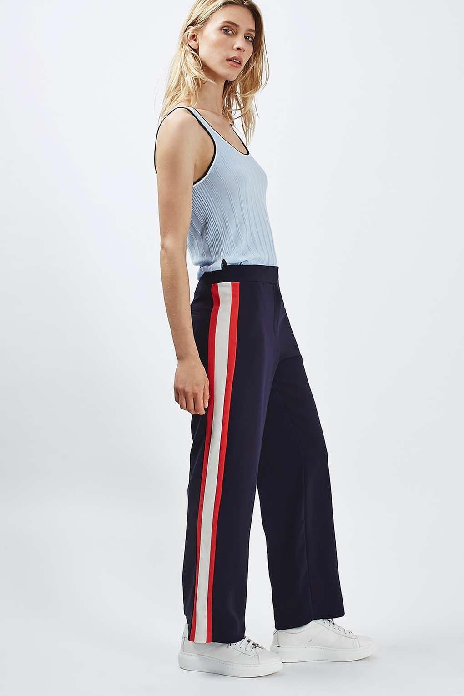 d08296e3ac PETITE Side Stripe Wide Leg Trousers | ZARA FC | Striped wide leg ...