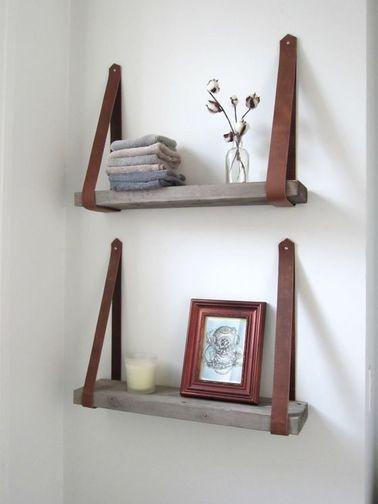 etagère de rangement salle de bain à faire avec du cuir et du bois