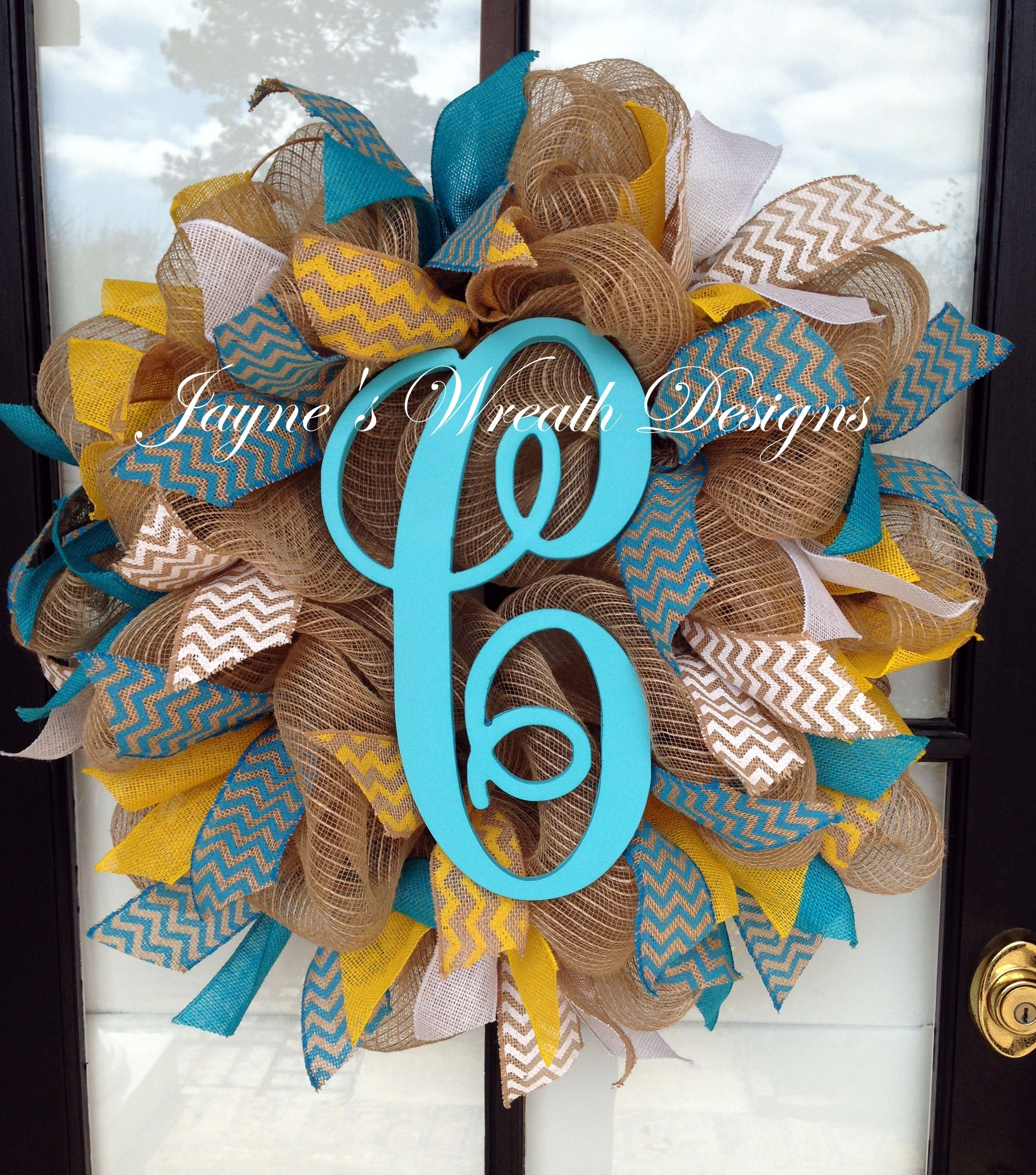 Spring Summer Burlap Wreath With Single Letter Burlap Ribbons In