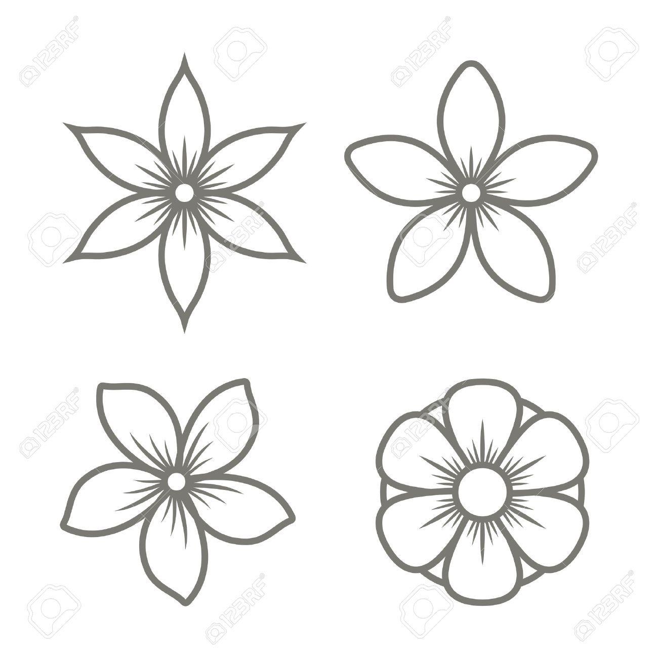 Stock Vector Jasmine Flower Tattoos Flower Icons Flower Drawing