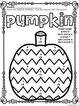 Boo! Happy Halloween! color by code color by number sums 0