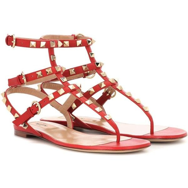 c67bbb5e3f15 Valentino Valentino Garavani Rockstud Leather Sandals ( 820) ❤ liked on  Polyvore featuring shoes