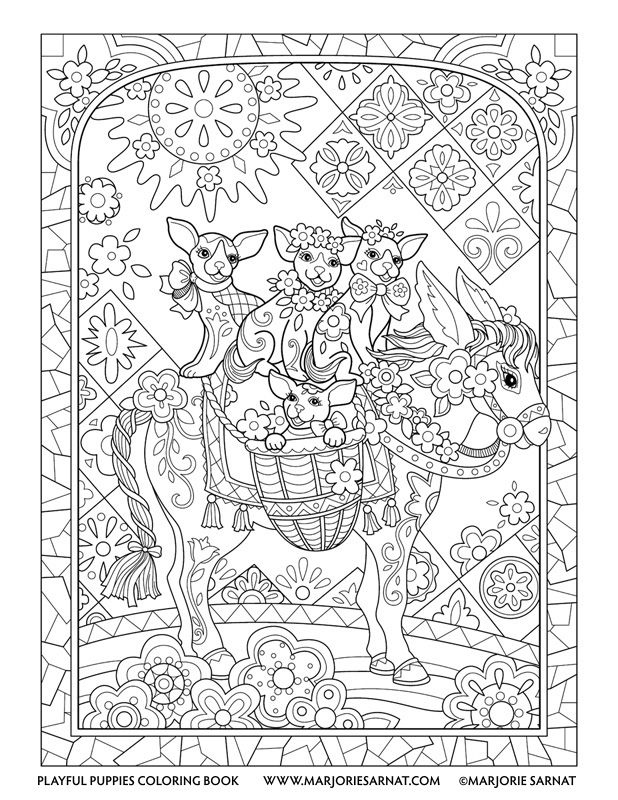 Burro Pups Playful Puppies Coloring Book by Marjorie