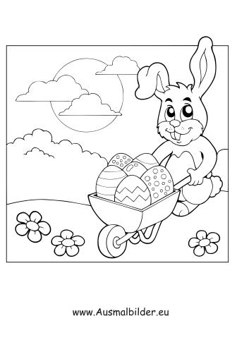 Ausmalbild Osterhase Mit Schubkarre Zum Ausmalen Ausmalbilder Malvorlagen Ostern Osterhase Kindergart Cute Coloring Pages Coloring Pages Snoopy