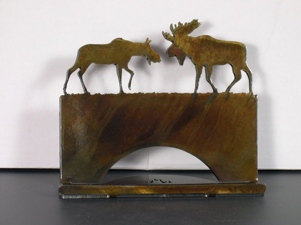 Bull & Cow Moose Business Card Holder   Business card holders, Moose ...
