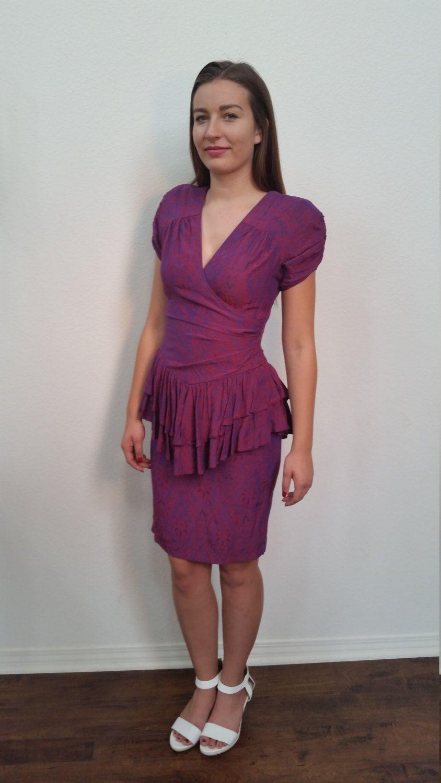 GRAND OPENING SALE 80\'s Prom Dress. Peplum Dress. Burgundy and ...