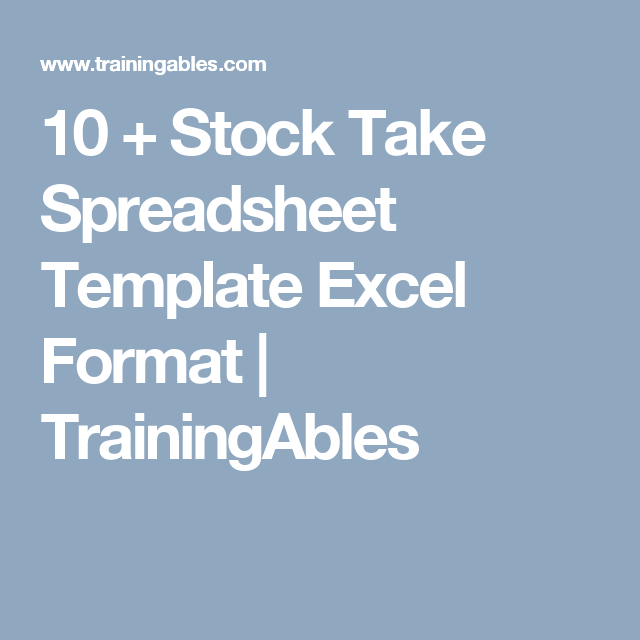 Stock Take Spreadsheet Template Excel Format  Trainingables