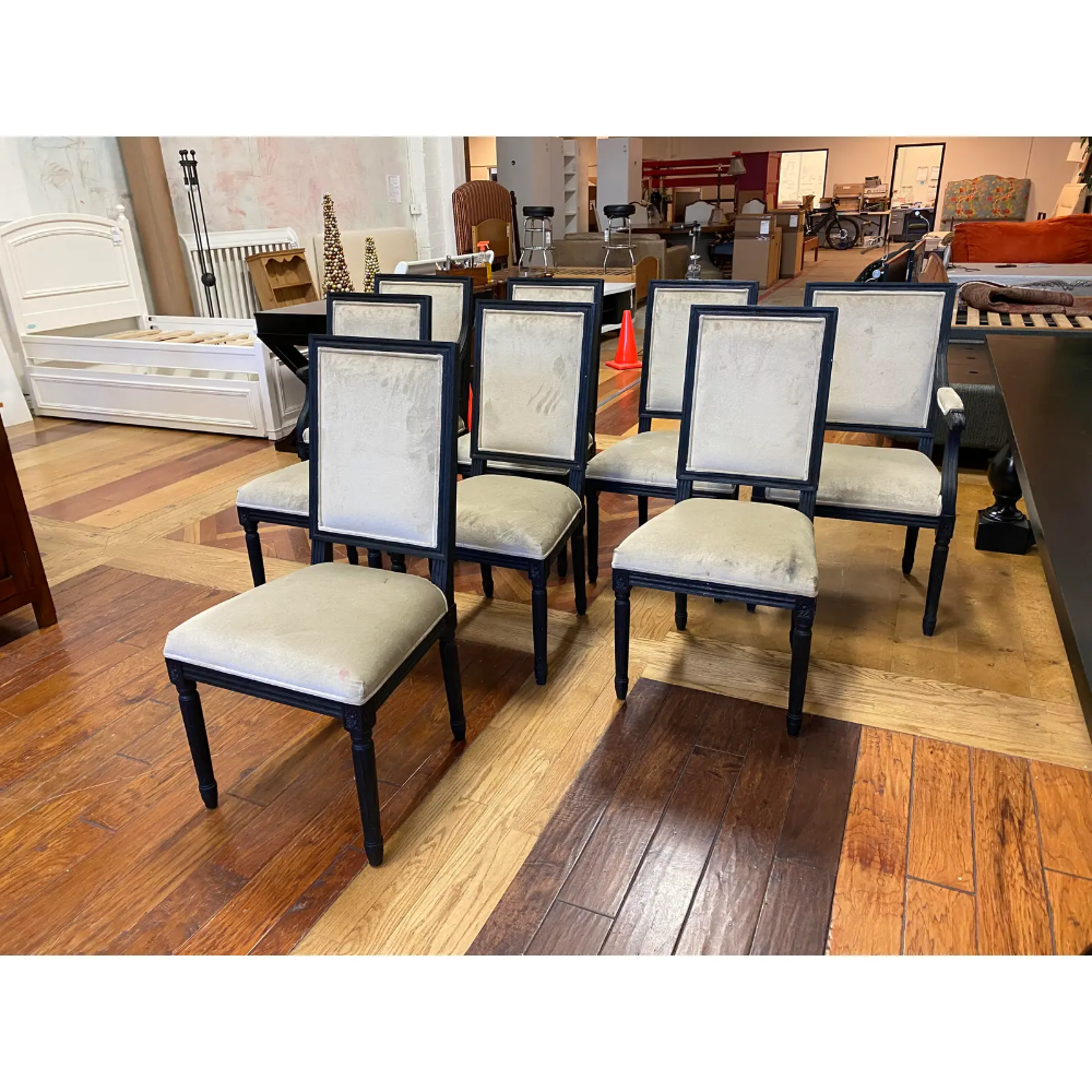 Restoration Hardware Vintage French Square Back Fabric Chairs