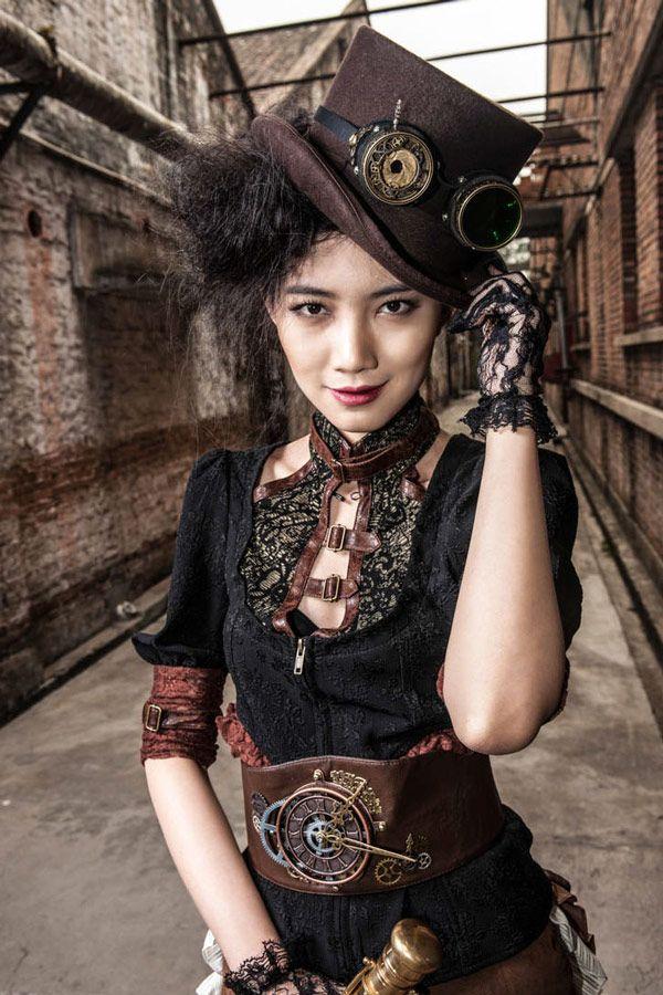 Chemise noire avec bordure marron et d collet en dentelle top steampunk rqbl shop - Steampunk style vestimentaire ...