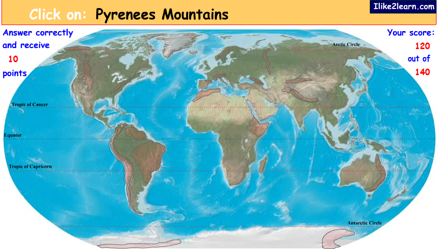 Interactive World Map Quiz.Online Interactive Mountain Range Quiz Physical Geography For Kids