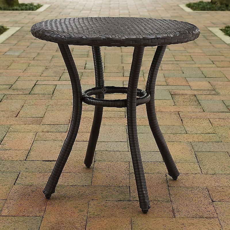 Crosley Furniture Palm Harbor Faux Wicker Round End Table Palm