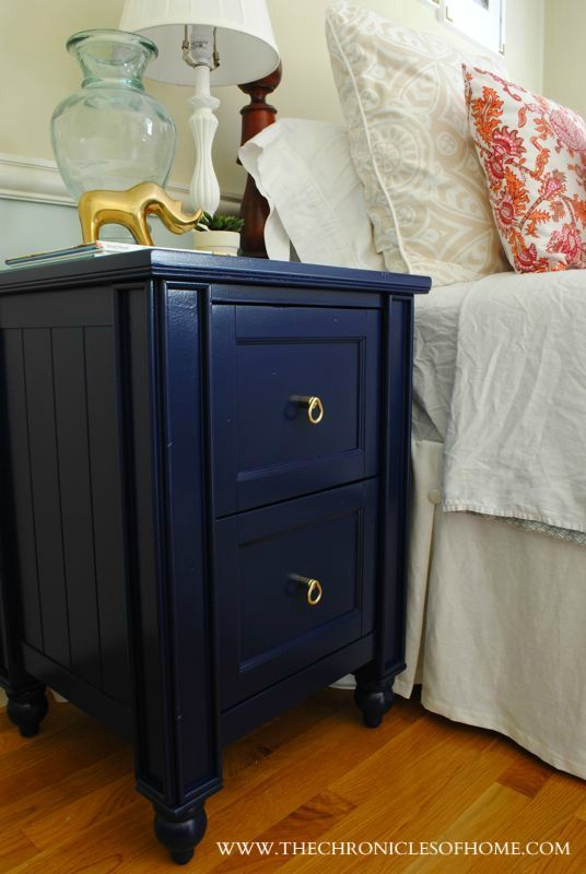 Navy Blue Nightstand The Chronicles Of Home Blue Nightstands Blue Painted Furniture Blue Furniture