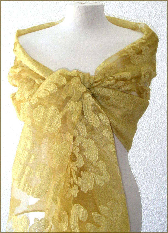 eb83155a030 Etole Ocre Jaune - etole de mariage- écharpe-foulard - Soie dévorée ...