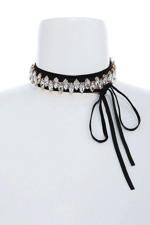 60964131d1ff Floral lace bow accent choker necklace