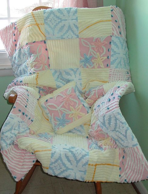 chenille quilt  what a great idea for a baby gift