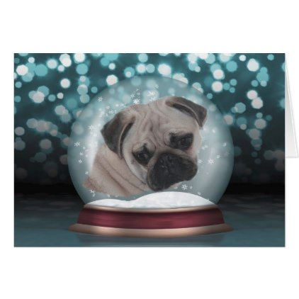 Snow Globe Pug - Blank Christmas Greeting Card - christmas cards - blank xmas cards