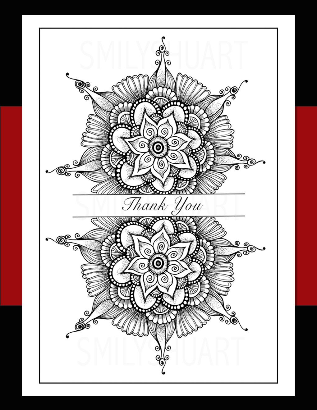 Printable thank you cards diy thanksgiving or holiday gift zentangle mandala coloring page wall art tattoo henna design christmas return cards by