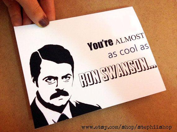 Ron Swanson Birthday card humorous 5x7 Birthday gift