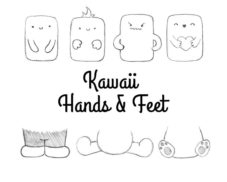 Different ways to draw kawaii hands and feet, and use them