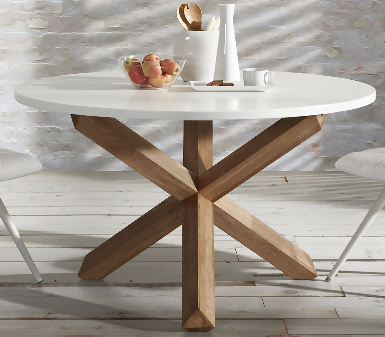 Mesa de comedor moderna redonda nori for Mesas de cocina redondas extensibles