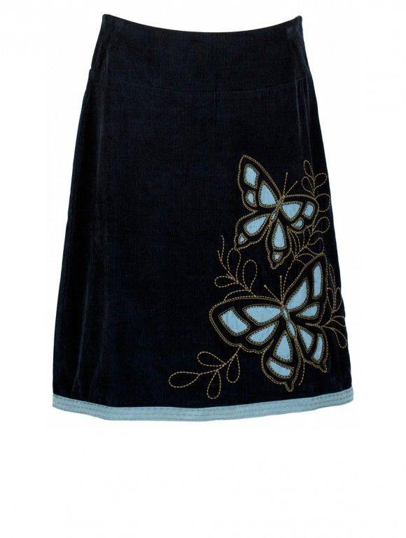BUTTERFLY dámská sukně - břidlicová - bavlněný manžestr 1400 Kč