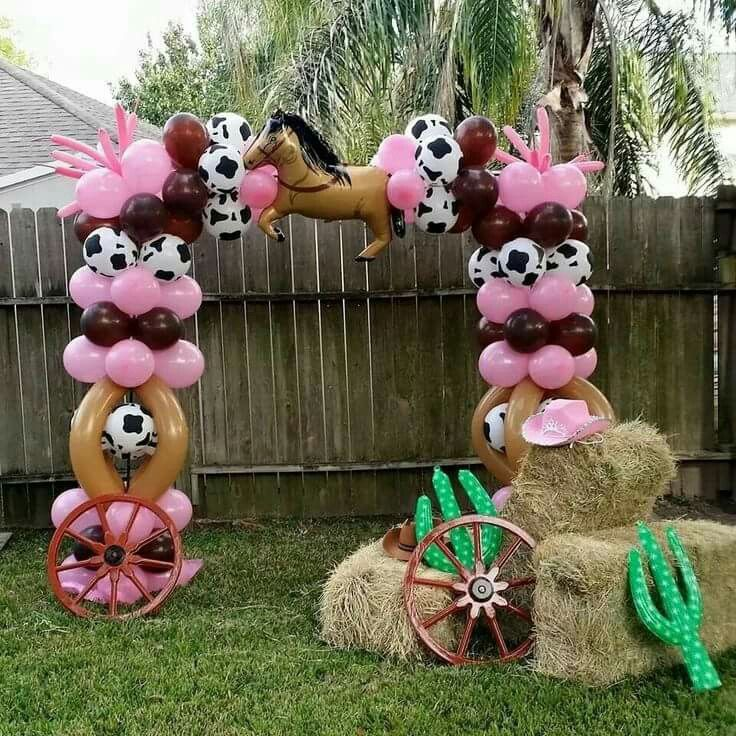 Western Theme Decorating Ideas Part - 28: Cowgirl Theme Balloon Arc So Adorable For A Western Theme Decoration.