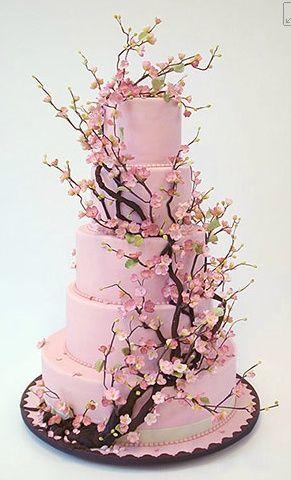 Elegant Cherry Blossom Wedding Cake