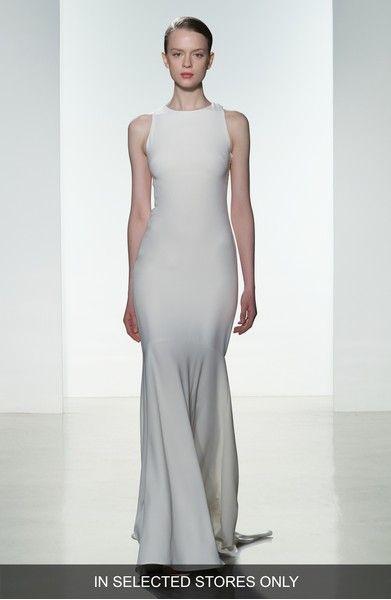 modern sleek bridal gown Amsale Brody Embellished Back Crepe Mermaid ...
