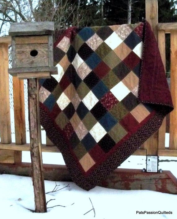 Traditional Scrappy Patchwork Lap Quilt By