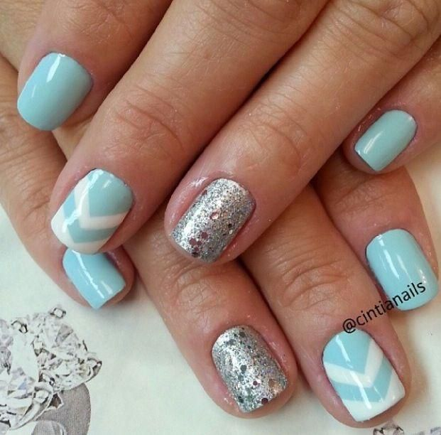 sky blue chevron nail polishs