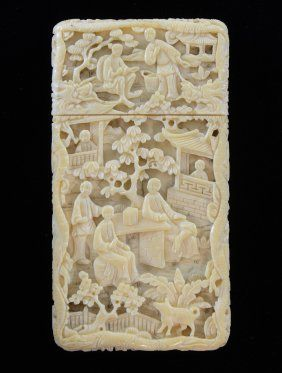 19th Century Chinese Ivory Card Case Carved With | Chinese Ivory