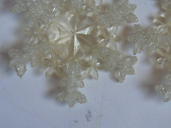 Snowflake Sparkle Ornaments: Set of Four Vintage by DreamLandEtsy