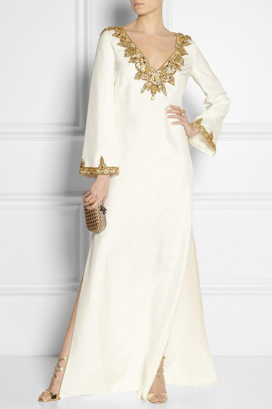 Marchesa embellished silk shantung kaftan style gown for Silk shantung wedding dress