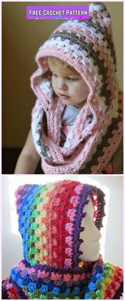 Crochet Granny Harlequin Hooded Cowl Free Pattern | Tejido ...