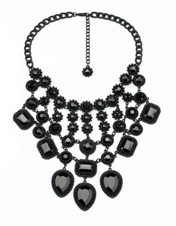 Black chandelier drop cluster choker bib necklace black is black black chandelier drop cluster choker bib necklace aloadofball Gallery