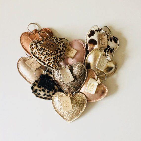 prijs nieuwe authentiek groot assortiment Leren sleutelhanger hart in verschillende kleuren | Keys ...
