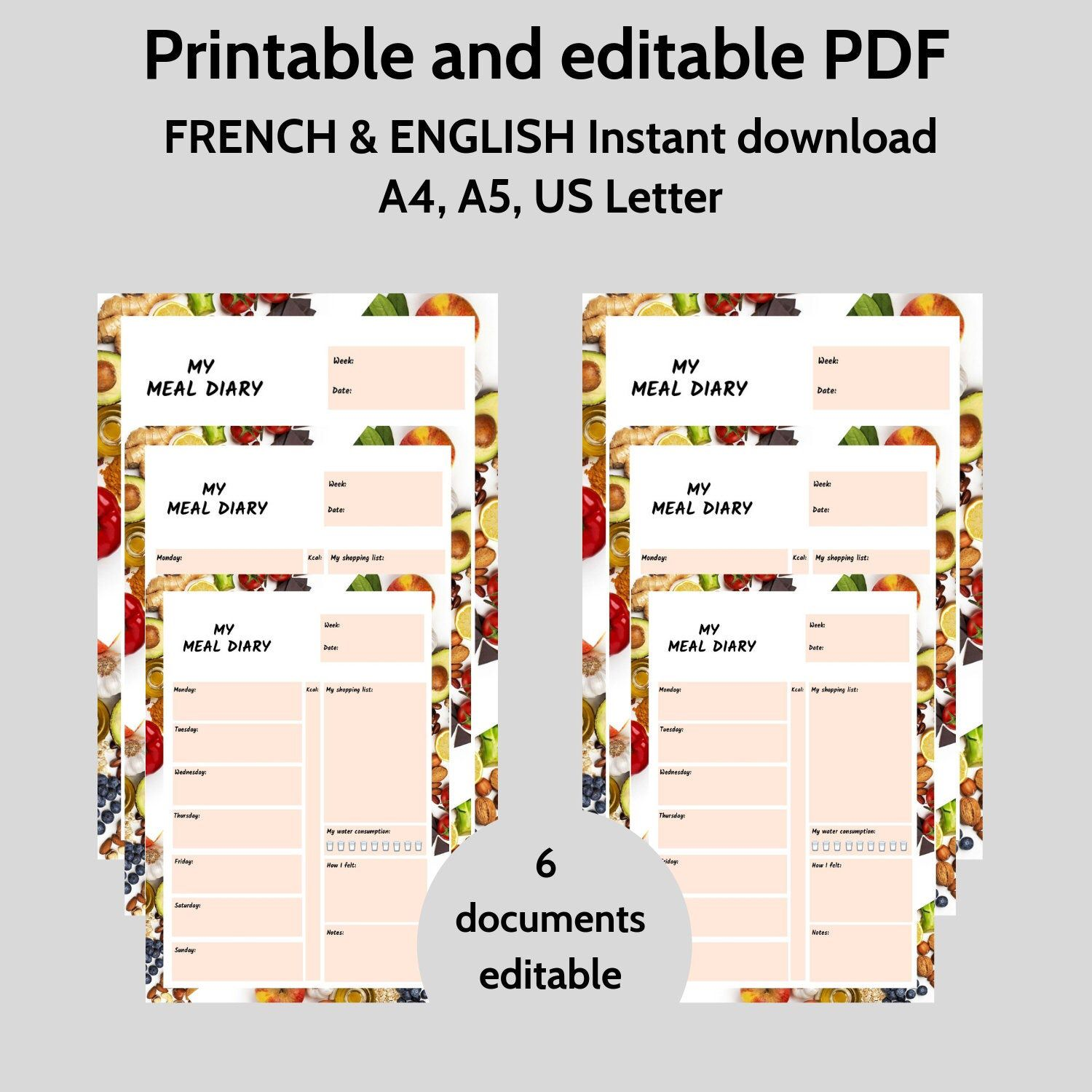 Weekly Meal Diary Printable Christmas Meal Planner