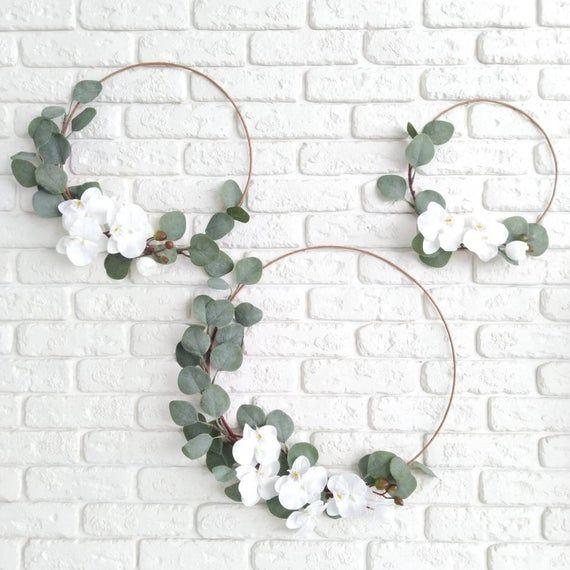 Photo of Orchid & eucalyptus wreath Greenery modern wreath White orchid wreath Eucalyptus wall hanging Minimal farmhouse decor Scandinavian wreath