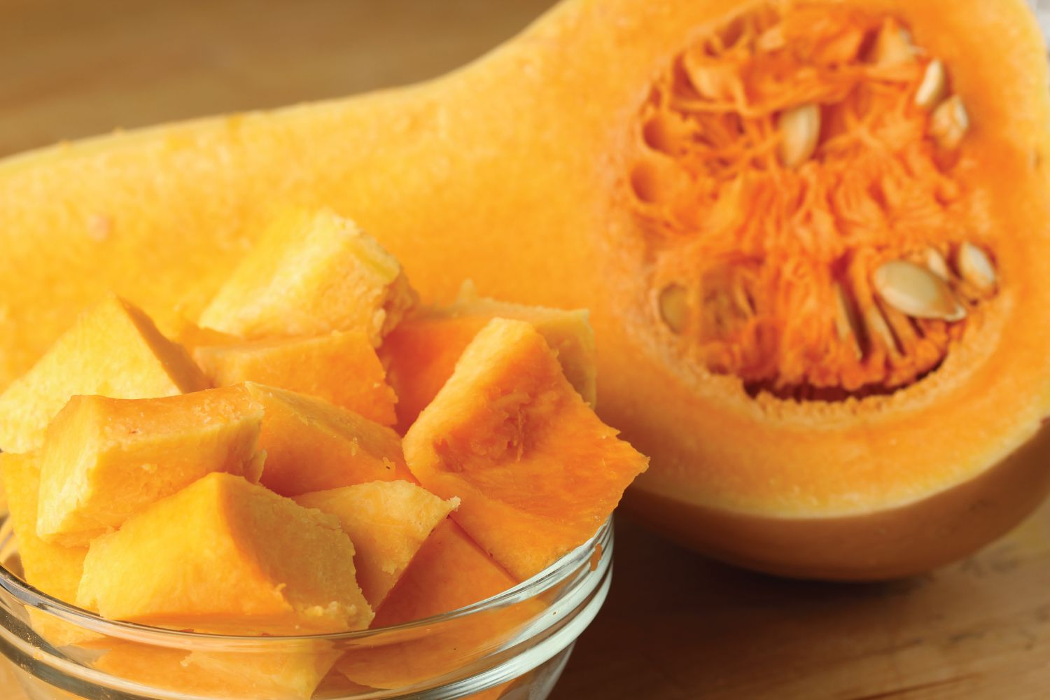 Butternut squash, a winter squash that is technically a fruit, is typically roasted to soften the inner orangey pulp before being eaten, with the skin typically peeled (although it is edible) and the seeds scooped out (also edible raw or roasted) while brushed with cooking oil and seasoned. The orange fleshy pulp is abundant with carotenoids, that helps protect your body from lung and oral cavity cancers. Pair cinnamon, nutmeg, Parmesan cheese, butter, red onions, or sage. #butternutsquash