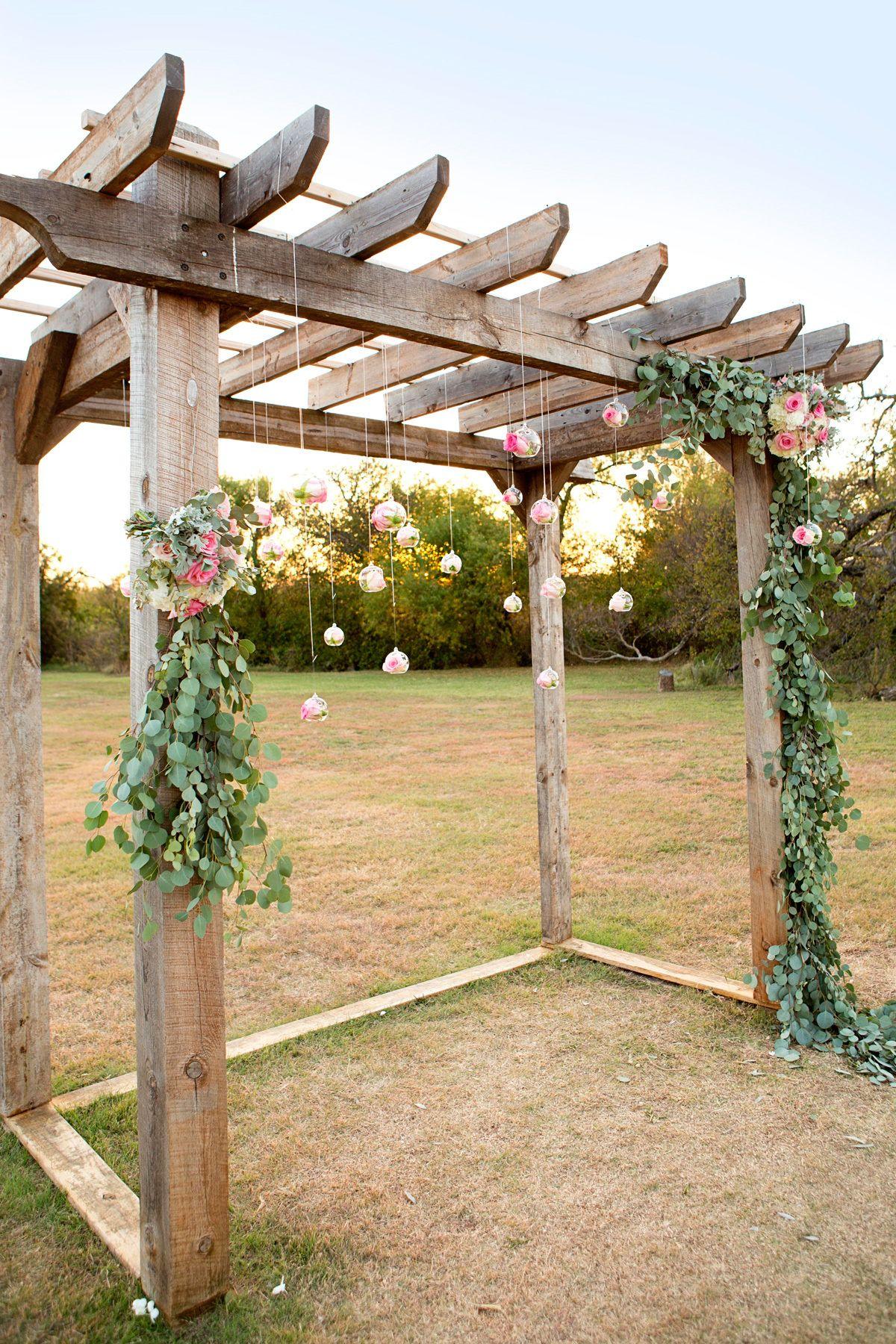 Diy Wedding Pergola With Flowers And Eucalyptus Hanging Globe