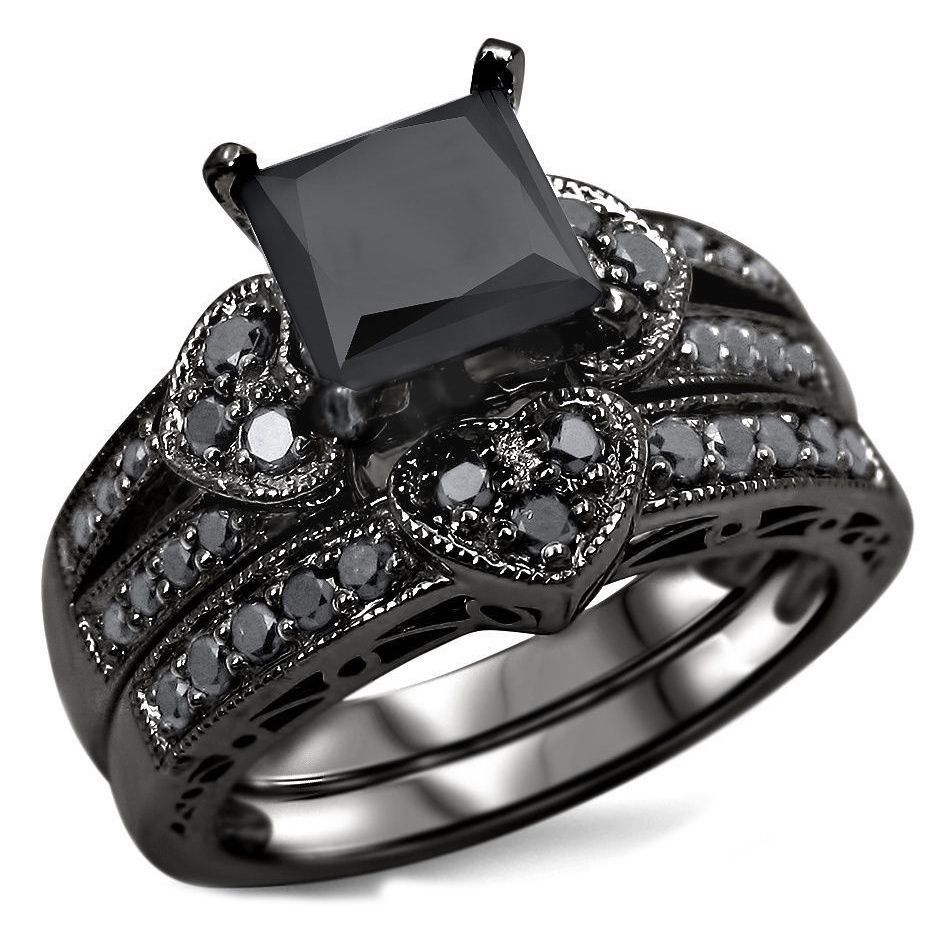 14k Black Rhodium Plated Gold 2 1 4ct Tdw Certified Black Diamond Heart Bridal Ring Set Black Diamond Bridal Set Engagement Rings Bridal Sets Princess Black Diamond