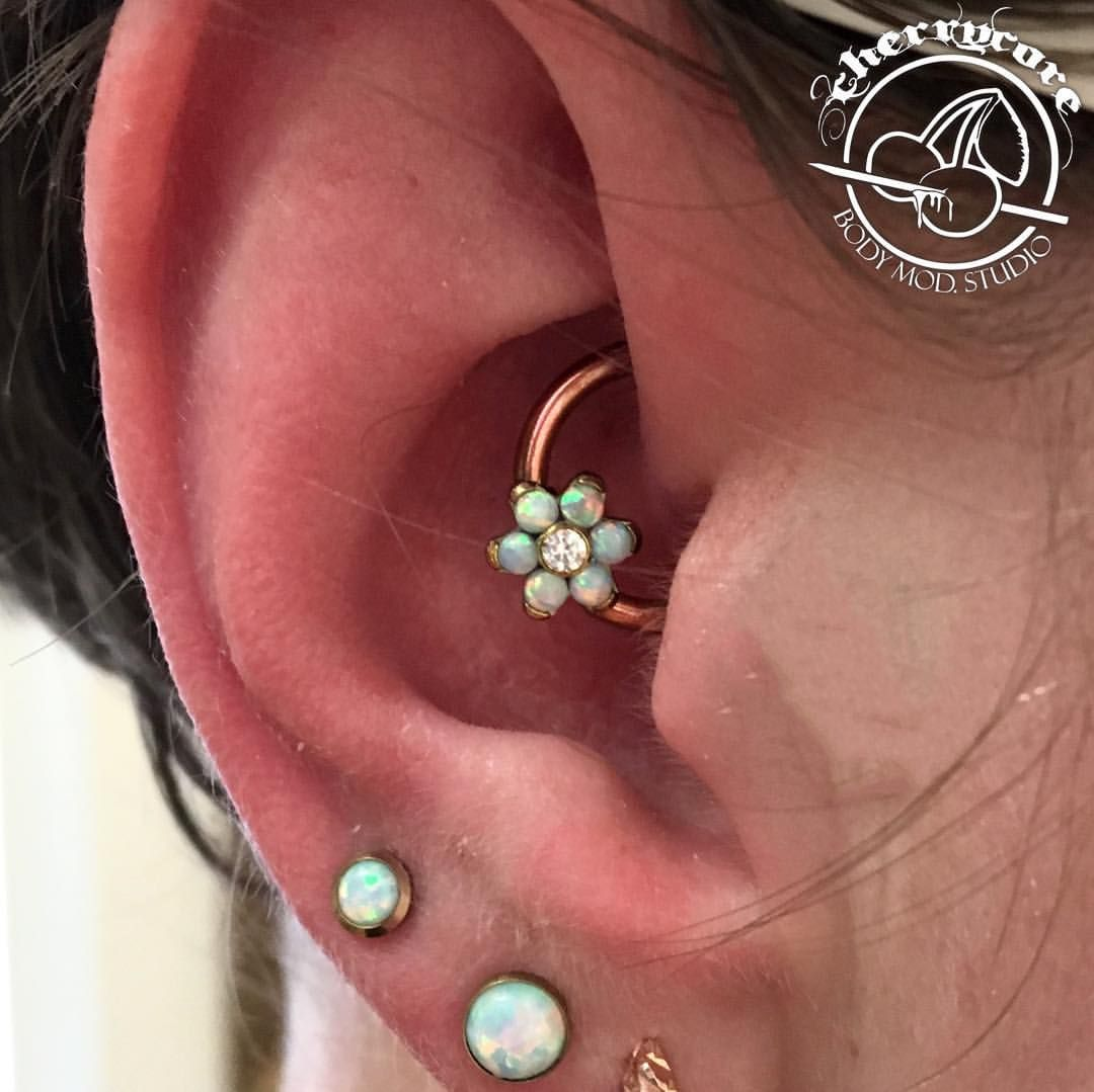 Check out this fresh 14g daith piercing that was done by Matt using this amazing Anatometal flower piece! While we were sorting through our most recent Anatometal shipment, this client came in and picked out this piece before it even made it into our displays. We anodized it rose gold to match her other jewellery and we couldn't be happier with the outcome! @anatometalinc #piercing #piercings #safepiercing #internalthreadtitanium #melbourne #cherrycore #cherrycorebodymod #bodypi...
