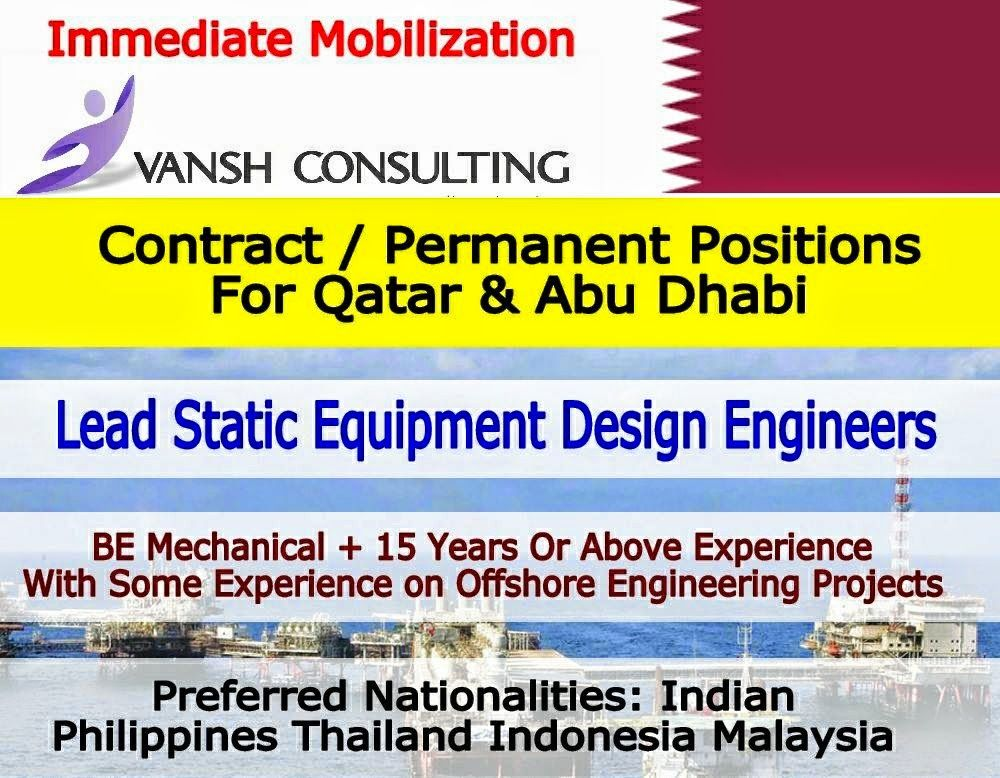 Multiple Positions  Lead Static Equipment Design Engineers For