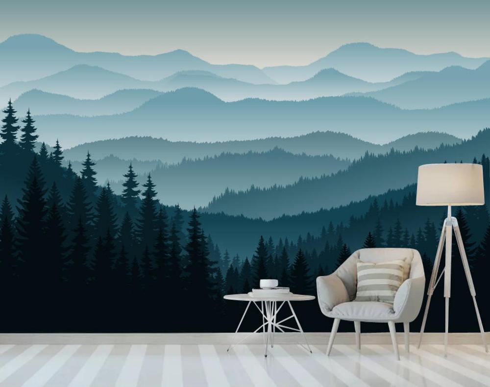 3d Mountain Mural Wallpaper Ombre Blue Mountain Pine Forest Etsy In 2021 Mountain Mural Mural Wallpaper Forest Wall Mural
