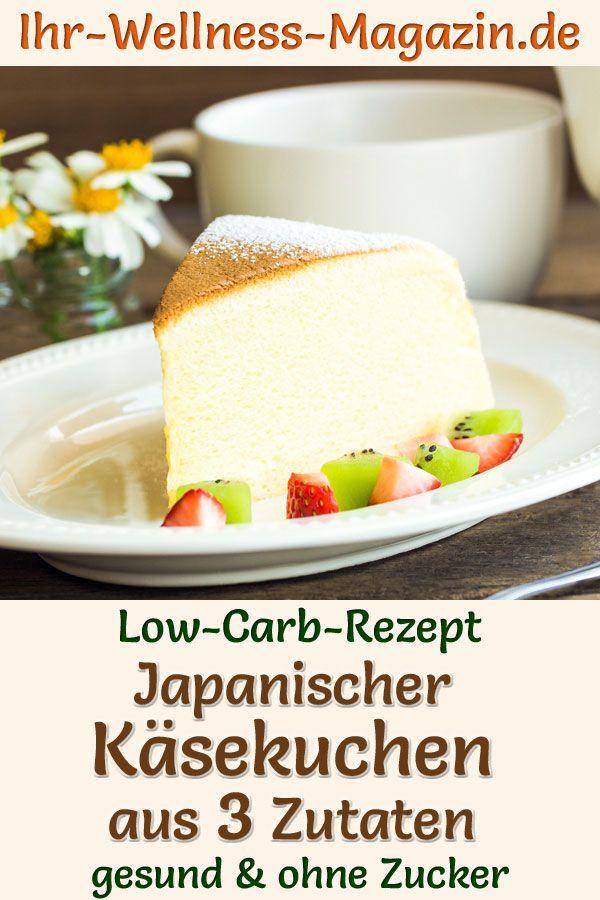 Fluffiger japanischer Käsekuchen ohne Boden aus nur 3 Zutaten: Einfaches, schnelles Low-Carb-Rezept mit Frischkäse, weißer Schokolade und Ei - ohne Zucker, kalorienarm, cremig, leicht und super lecker ...