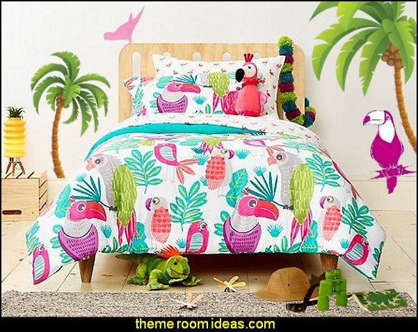 parakeet paradise forter set tropical theme bedroom decorating