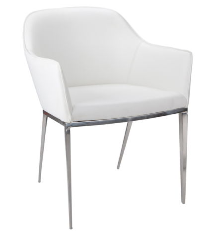 Stanis Arm Chair White White Leather Armchair Contemporary Armchair White Dining Chairs